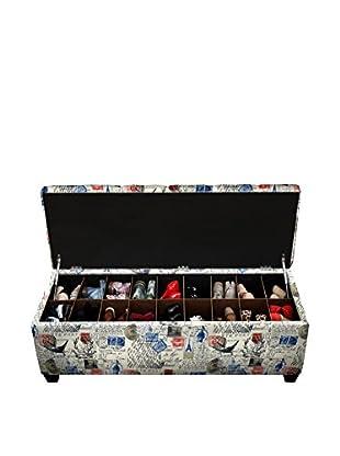 MJL Furniture Sole Secret Large Upholstered Shoe Storage Bench, Natural