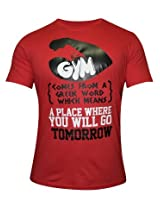 GYM Red Round Neck Tshirt