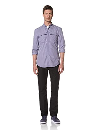 French Connection Men's Crows Nest Gingham Long Sleeve Button-Front Shirt (Royale)