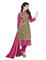 Lookslady Embroidered Light Green & Magenta Cotton Dress Material