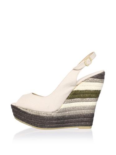RAS Women's Layered Peep-Toe Wedge (Stone Canvas)