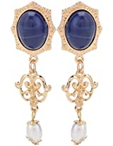 Jewel Touch Gold and Blue Metal Earrings for Women (JWLY70745ER)