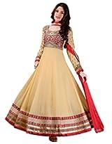 Dani Fashions Women's Georgette Anarkali Suit (BFD504_Beige_Free Size)