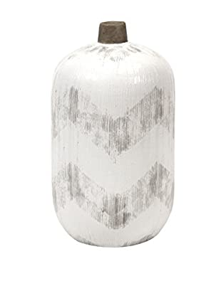 Short Chevra Vase, White