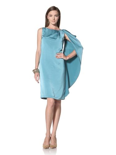 Anne Klein Collection Women's Draped Shoulder Shift Dress (Lagoon)