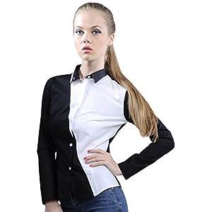 Black Cotton Shirt With White Diagonal Panel - IKWDWSS12SH138 - XL