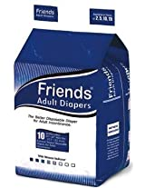 Friends Adult Diaper Basic (XLarge) - Case of 12 diaper packs (120 diapers total)