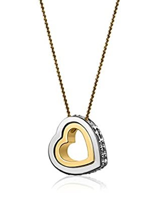 Philippa Gold Collar Double Heart Strass metal bañado en oro 24 ct
