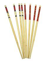 IMUSA USA WPAN-10028 4-Pair Bamboo Oriental Design Chopsticks, 14-Inch, Red/Tan