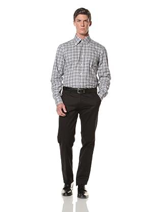 De Corato Men's Button-Up Dress Shirt (Grey and Blue Check)