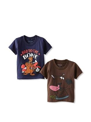 Freeze Boy's Scooby Doo 2-Pack T-Shirt Bundle (Brown/Navy)