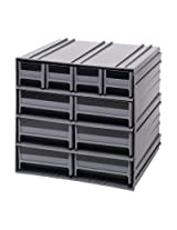 Quantum QIC-4163BL Interlocking Gray Storage Cabinet with 10 Blue Drawers, 11.38-Inch by 11-3/4-Inch by 11-Inch