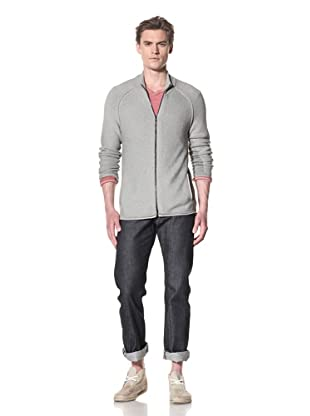 Rogan Men's Plaited Tasso Zip Front Sweater (Stone Combo)