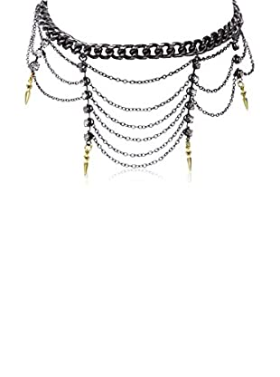 Ettika Gunmetal & 18K Gold-Plated Tangled In A Web Necklace