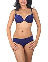 Sugar Lips Satin Lingerie Set (K75, Blue, 36B)