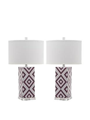 Safavieh Set of 2 Diamonds Table Lamps, Light Purple