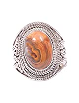 Rubera's Hallmark Silver Ring With Peanut Wood Stone