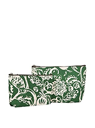 Rock Flower Paper 2-Piece Toile Cosmetic Bag Set, Evergreen
