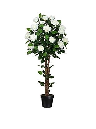 Planta Artificial Rosal Verde/Blanco