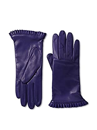 Portolano Women's Ruffle Cuff Leather Gloves (Iris)