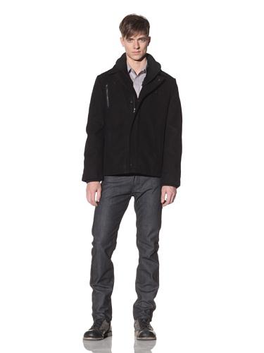 Projek Raw Men's Felt Coat with Removable Collar (Black)