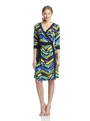 Melissa Masse Women's Printed Wrap Dress (Casablanca Basil)