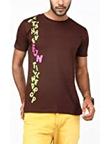 Paani Puri Men's Round Neck T-Shirt (M7419_C. Brown_Small)