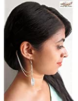 Under the Feather Ear-to-Hair Cuff: Silver Leaf