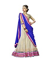 Kanheyas Women Net With Blouse Piece Lehenga Cholis (Kmtsd802 _White And Blue _Free Size)