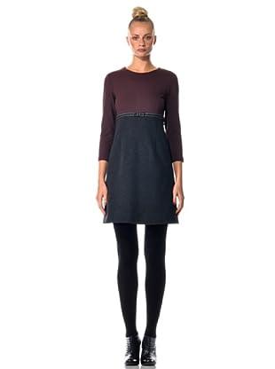 Eccentrica Kleid mit Gürtel (Bordeaux/Grau)