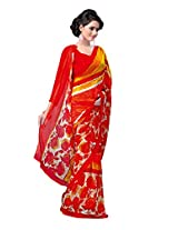 ANSS Elegant Designer Faux Georgette Saree with Floral Print - Red