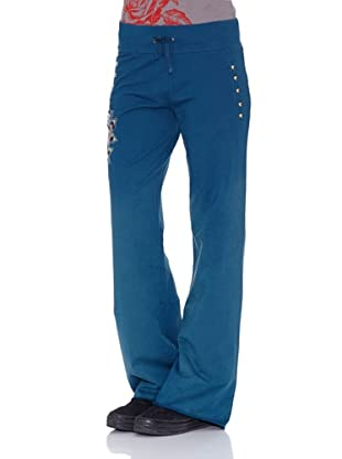 Ed Hardy Pantalones Flower Women Pants (Azul)