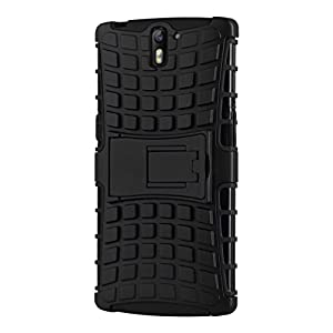 Case for OnePlus One, Cruzerlite Hybrid Tough Rugged Armor Defendor Kickstand Case for OnePlus One - Black/Black