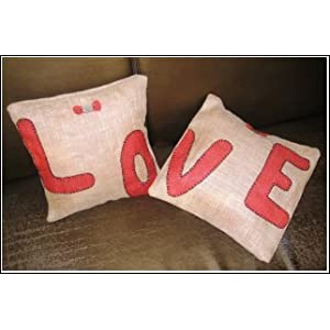 Cute Jute Love Embroidered Set Of 2 Cushions
