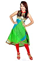 Charu Boutique Women's Raw Silk Printed Stitched Kurti(Parrot Green Mix_M Size)