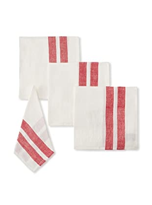 Found Object Lille Set of 4 Linen/Cotton Napkins, White/Red
