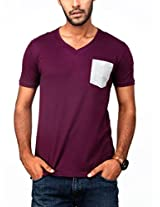 Paani Puri Men's V-Neck T-Shirt (MV20EP51S_Wine_Small)
