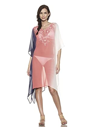 TIKKA Women's Ombre Embroidered Kaftan Tunic (Coral)