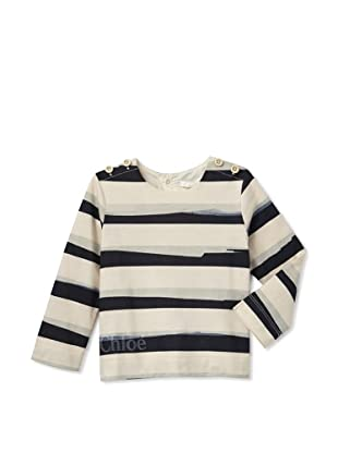 Chloe Girl's Button Shoulder Shirt (Blue Stripe)