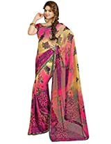 Vibes Women's 60gm Georgette Saree with Blouse (S14-2226_ Multi Colour)