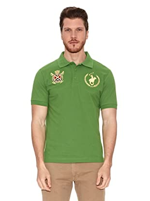 Polo Club Polo Manga Corta Custom Fit Escudo & Logo (Verde)