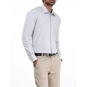 Genesis Grey Striped Men Shirt 11GCSH26177