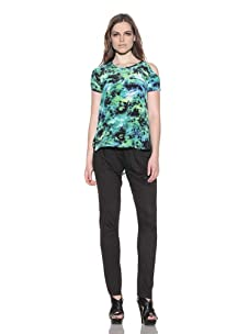under.ligne by Doo.Ri Women's Printed Tunic with Cut Out Shoulder (Lime Wash)