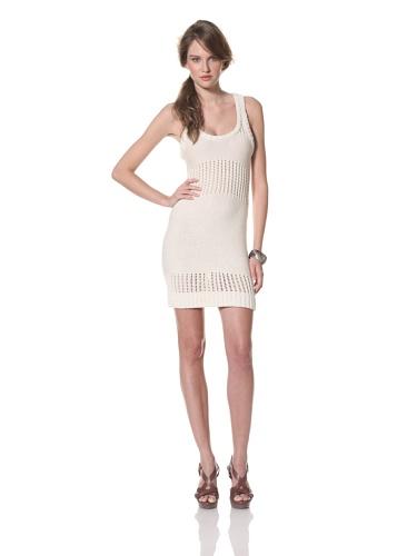 Whit Women's Cotton Knit Crochet Sweater Dress (White)