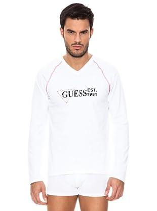 Guess T-Shirt mit V-Ausschnitt (Weiß)