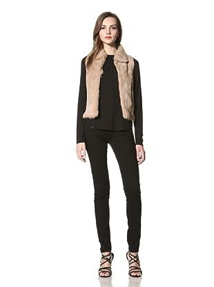 525 America Women's Collar Rabbit Fur Vest (Crème Brulee)