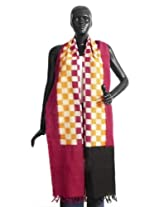 DollsofIndia Red, Yellow and off-White Check Chunni with Black and Red Pallu - Cotton - Red