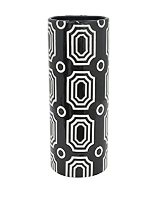 Three Hands Geometric Cylinder Ceramic Vase, Black/White