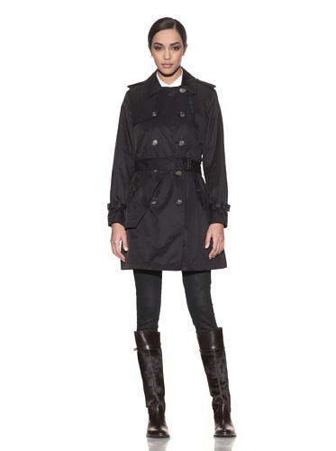 Hilary Radley New York Women's Double Breasted Trench with Faux Leather Trim (Black)