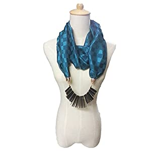 Alekhya Blue Jeweled Satin Scarf